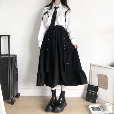 13.2US $ 45% OFF|Autumn Women Skirts high waist student Korean Style Dark vintage Ruffle Long A line skirts women fashion 2020|Skirts|   - AliExpress