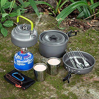 Odoland Kit de Casseroles Réchaud Camping Ustensiles complets Ultraléger...