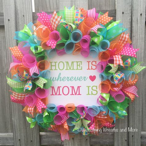 Show your Mom how much you love her this Mothers Day with this colorful deco mesh Home is Wherever Mom is wreath! This wreath measures 24 in