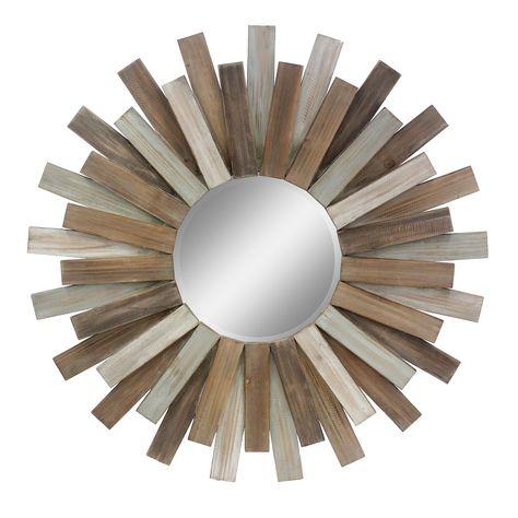 Stonebriar Collection Round Wooden Sunburst Wall Mirror 31 Diam