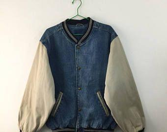 Vintage Converse Varsity Denim Jacket 90s Converse Bomber Jacket Plain Jacket Size L Varsity Outfit Plain Jacket Outfits