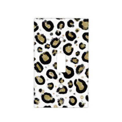 White Gold Glitter Black Leopard Cheetah Print Light Switch Cover Zazzle Com Light Switch Covers Switch Covers Light Switch