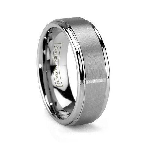 mens wedding ring | MATTINO. Tungsten Carbide Brushed Mens Wedding Ring