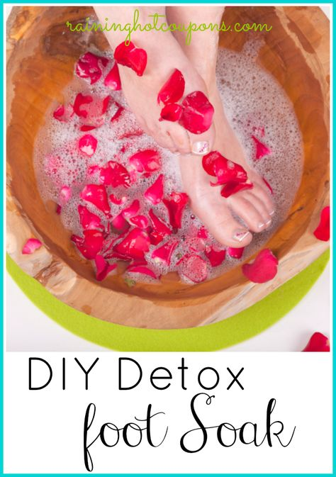 DIY Detox Foot Soak:  1 cup of Epsom Salts 1 cup of Sea Salt 2 cups of Baking Soda Instructions: Mix all ingredients together. Store in airtight container as 1 batch of mix will work for a few soaks.When you want to soak your feet, add 1/4 cup of the dry mixture into a tub of very hot water.Soak feet for 30 mins. Use mix whenever you feel like you need to relax your feet!