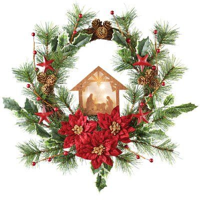 The Holiday Aisle Hanging Stars Poinsettia Pine Nativity 18 Polyester Wreath Homemade Christmas Wreaths Wreaths Christmas Signs