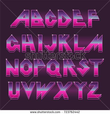 80 S Retro Alphabet Font Vector Typography For Flyers Headlines Posters Effect Shiny Letters 80s Neon S Fonts Alphabet Typography Alphabet Aesthetic Fonts