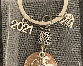 1971 50th Birthday Lucky Dime Four Leaf Clover Keychain 50th Anniversary St Patricks Day Irish Gift Coin Jewelry made from a 1971 Dime