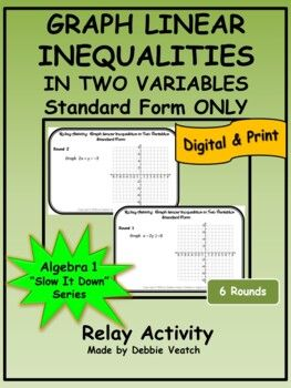 Graph Inequalities In Two Variables Standard Form Only Distance Learning Graphing Linear Inequalities Algebra Activities Linear Inequalities
