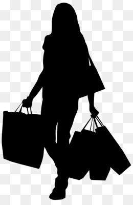 Shopping Bag Clip Art Female Silhouette With Shopping Bags Png