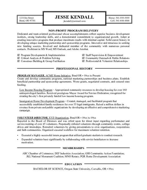 Resume Examples Nonprofit | Cover letter for resume, Resume ...