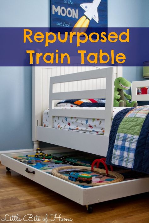 Repurposed Train Table-for the future, to put the train table under thompson's bed
