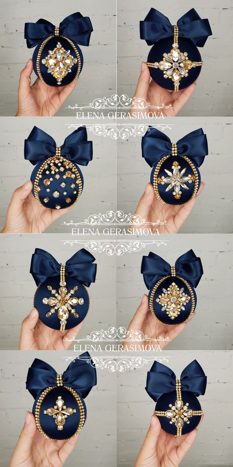 This elegant navy blue ornaments are hand-made, with a unique rhinestones design, perfect for your home decor! Set is packed in beautifule gift bo… Beaded Christmas Ornaments, Pink Christmas, Handmade Christmas, Christmas Holidays, Christmas Crafts, Christmas Decorations, Turquoise Christmas, Elegant Christmas, Handmade Ornaments