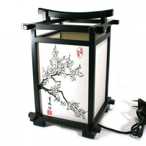 Lampe Japonaise Kanji Bois Et Papier Fleur De Cerisier Japan