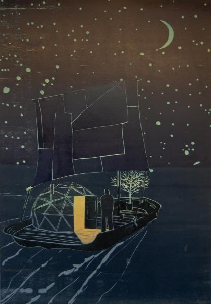 """Night Raft"" by Tom Hammick (reduction woodcut)"