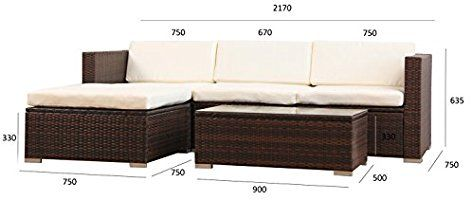 Amazon De 6034 Poly Rattan Lounge Braun Gartenset Sofa