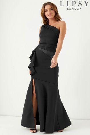 sleek good selling shop Lipsy Ruffle Pleat One Shoulder Maxi Dress | Bodycon floral dress