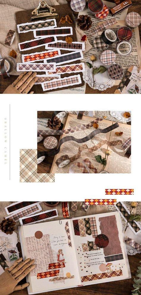 Fabric Pattern Washi Tape Set With Plaid and Scottish Tartan, 10 rolls