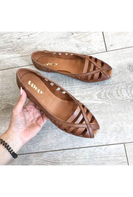 Brazowe Azurowe Baleriny Gina 600 Naturalna Skora Wloska Designer Shoes Slip On Sandal Shoes
