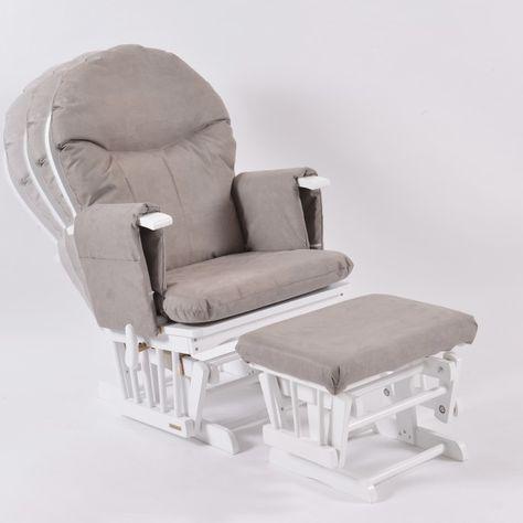 Excellent Habebe Glider Chair Stool White Wood Grey Washable Creativecarmelina Interior Chair Design Creativecarmelinacom