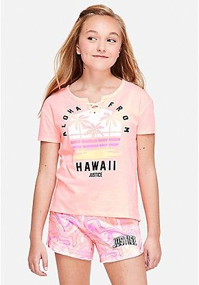 Lace Up Tee Justice Clothing Justice Clothing Outfits Girls Outfits Tween