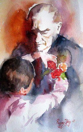 Sulu Boya Ile Cizilmis 15 Muhtesem Ataturk Portresi Sulu Boya Resim Illustration