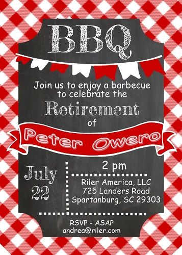 Bbq Retirement Party Invitations This Invitation And 1000s More