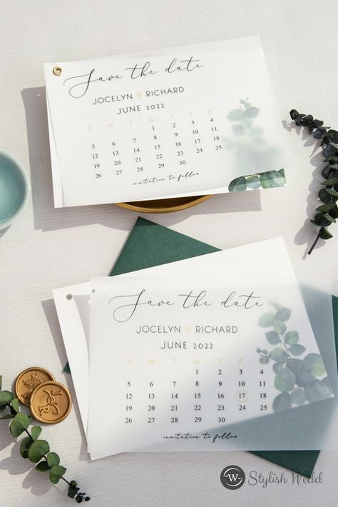 Our 'Eucalyptus' save the date is lovely - soft and romantic, but still standing out with its gorgeous greenery. #weddinginspirations#weddinginvitations#stylishwedd#vellumweddinginvitations#savethedate#weddingstationery