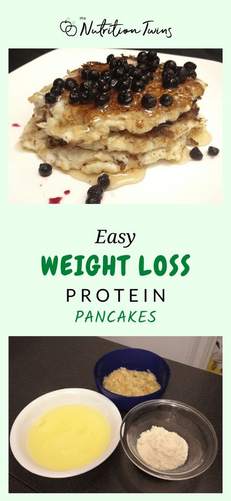 Easy Weight Loss Protein Pancakes Recipe. This healthy breakfast recipe is perfect for a flat belly diet plan. Simple meal prep with just 3 ingredients. #flatbelly #pancakes #healthy #breakfast For MORE RECIPES, fitness  nutrition tips please SIGN UP for our FREE NEWSLETTER www.NutritionTwins.com