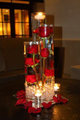 Rose Floating Candle Centerpiece | Indigo Event Centerpieces - Orange County, San Diego, and ...