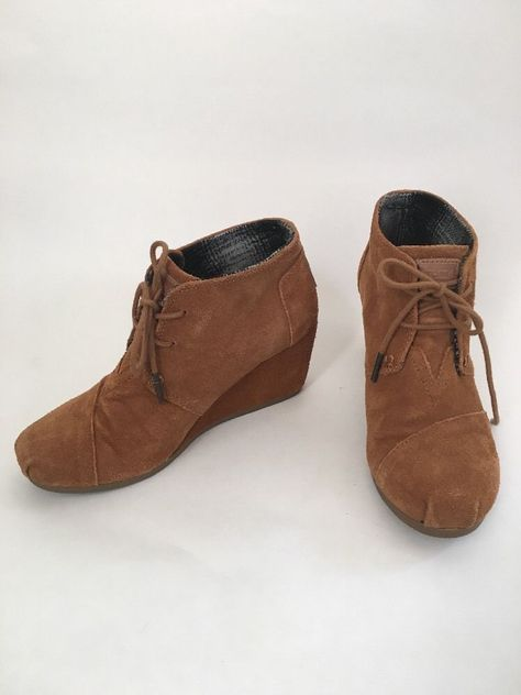 Toms Desert Wedge Brown Suede Lace Up Shoe Sz 6 5 Booties Shoes Ankle Boots | eBay
