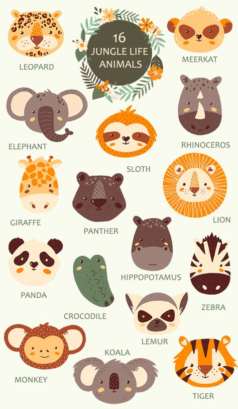 JUNGLE LIFE PORTRAIT ANIMALS | Baby Animals clipart | Wild animals clipart | Sloth | Lion | Tiger