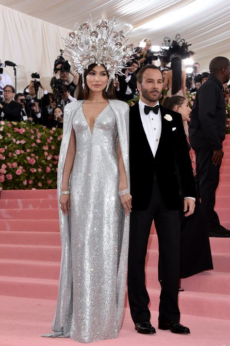 Tom Ford and Gemma Chan in Tom Ford at the Met Gala '19.  My favorites in every way! Dress, headpiece, Gemma and Tom <3