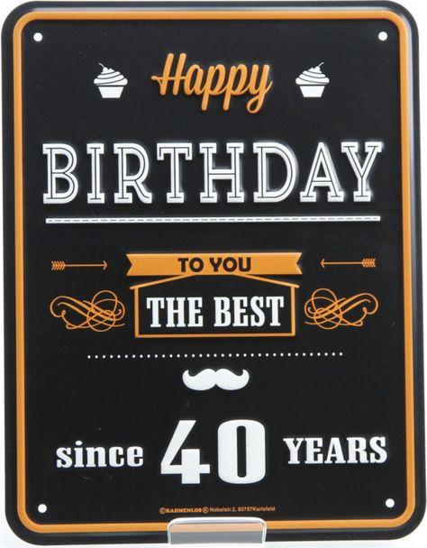 Blechschild Happy Birthday 40 Jahre Ideas In Boxes