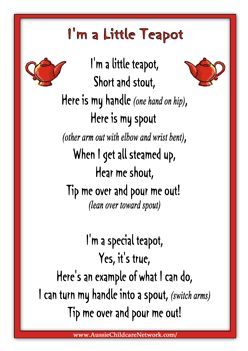 Im A Little Teapot Rhymes Worksheet Nursery Rhymes Songs