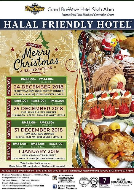 Christmas 2018 New Year Hi Tea Buffet 2019 At Royale Songket Restaurant Grand Bluewave Hotel Shah Alam Malaysian Food Food Blog Buffet
