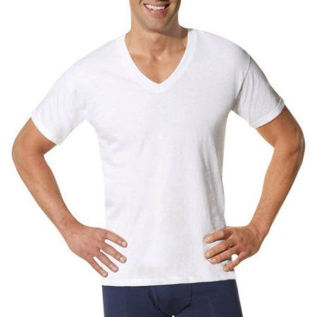 b7bf8de41b76 Hanes Men's ComfortSoft White V-Neck T-Shirt 6 + 3 Free Bonus Pack, Size:  Medium