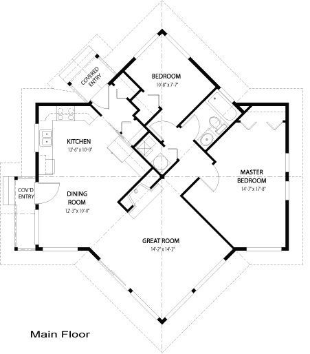 Kestrel Interesting House Plan But Having To Go Through The Entire House To Get To The Bathroom Is Not A Gr Unique House Plans House Plans Cottage Floor Plans