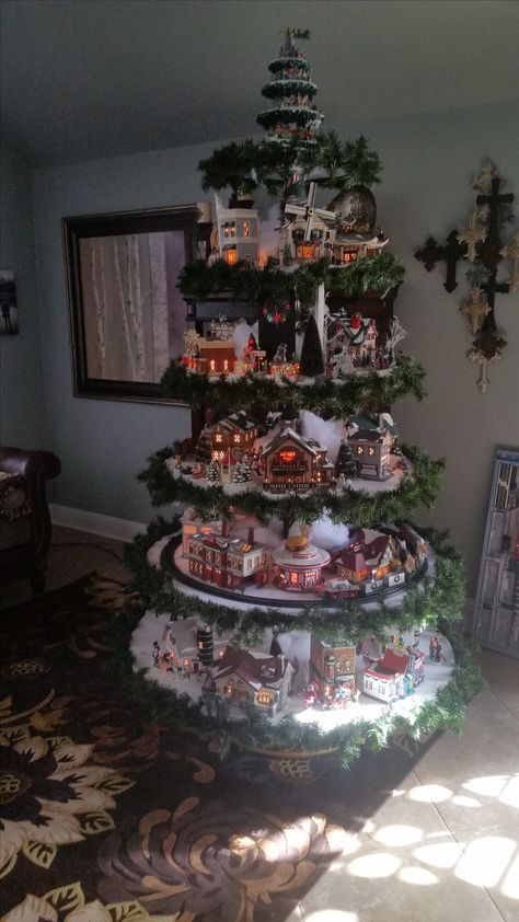 Revolving Snow Village Christmas Tree With Train And Active Disney Topper Christmas Tree Train Christmas Tree Topper Craft Christmas Tree Village Display