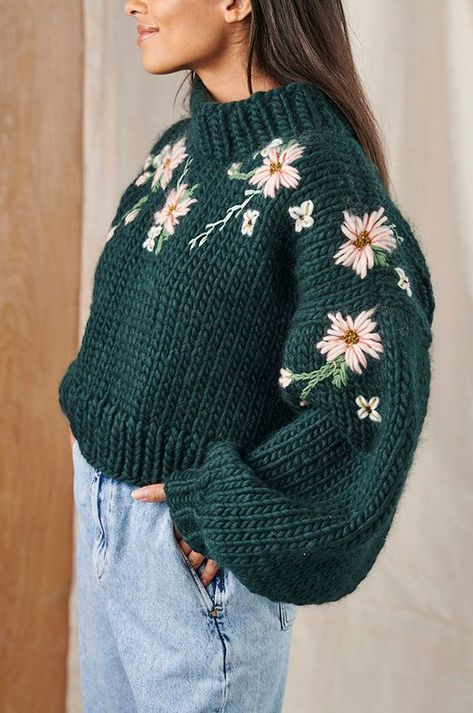 Embroidery on knitted jumper
