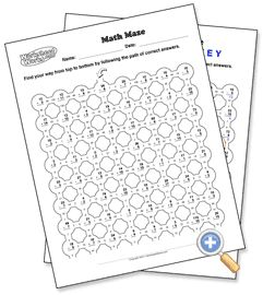 Math Maze - WorksheetWorks.com. Free worksheet generator! | Teaching ...