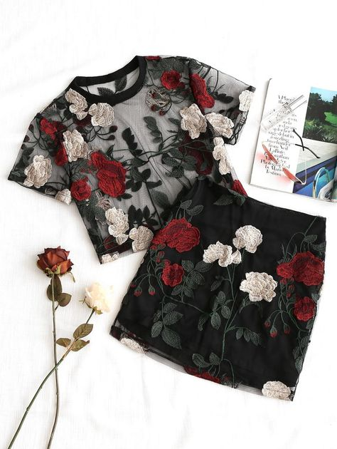 Cool Summer Floral Embroidery Mesh Crop Top and Short pc Set – Sofia Orácio Cool Summer Floral Embroidery Mesh Crop Top and Short pc Set Cool Summer Stylish Mesh Fashion-Floral Embroidery Mesh Blouse With Pencil Skirt Set