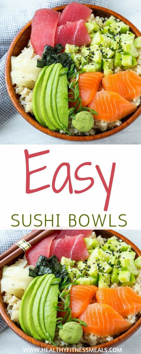 Easy Sushi Bowl | Sushi Recipe | Easy Sushi Recipe | Easy Recipes | Avocado | Cucumber | Clean Eating | Healthy Fitness Meals | #easysushibowl #bestsushirecipe #healthyeating #healthyfitnessmeals