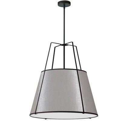 Loney 3 Light Unique Statement Drum Pendant Finish Black Shade Color Gray Fabric Shades Light Lighting Ceiling Fans