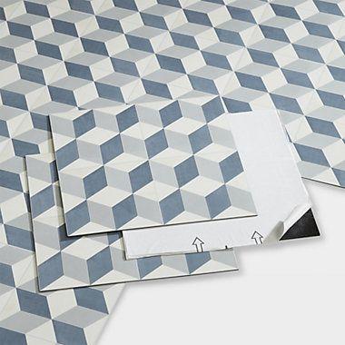 Goodhome Poprock Blue Mosaic Effect Self Adhesive Vinyl Tile 1 3m Pack Vinyl Tiles Goodhome Vinyl Tile