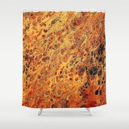 Fire Flame Acrylic Pour Painting Shower Curtain Painting Shower
