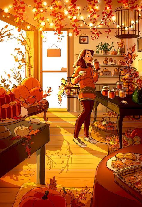 Pumpkin Spice Everything, an art print by Yaoyao Ma Van As - INPRNT