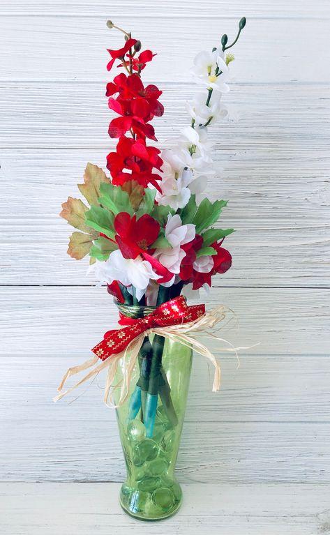 Red Decorative Christmas Flowers Artificial Delphinium Flower