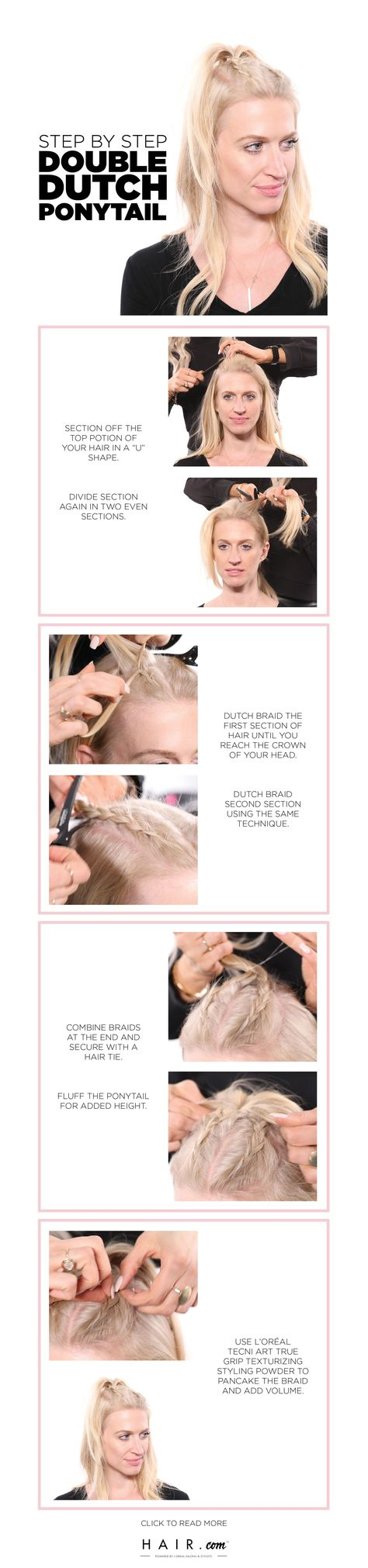 Learn how to style a half-up double dutch braided ponytail. This french braid hairstyle is perfect for second day hair and adds texture for a voluminous finish. Discover expert tips and the best products to style this half-up half-down pony. # tight dutch Braids How To Style A Half-Up Double Dutch Braid The Expert-Approved Way # dutch Braids pony tail # dutch Braids pony tail
