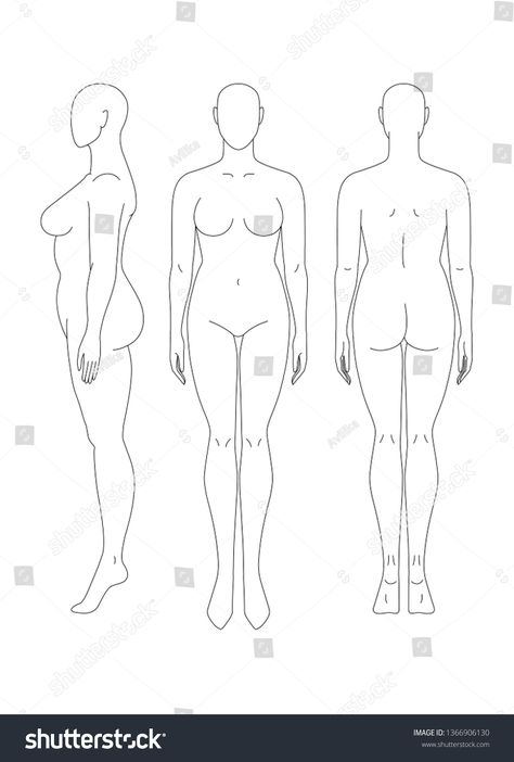 Sketch of a full female body. Front, side and rear view. Female body template for drawing clothes. You can print and draw directly on sketches. Drawing Body Proportions, Drawing Female Body, Woman Drawing, Fashion Design Template, Fashion Templates, Anime Poses Reference, Figure Drawing Reference, Art Deco Tattoo, Body Template