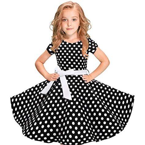 Detaillierung Vorschau von super beliebt JiaMeng Mädchen Kleid 50er-Jahre-Stil Kinder Mädchen Vintage ...